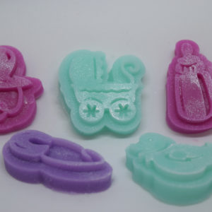 Baby Shower group of novelty glycerin soaps, baby carriage, baby bottle and more.