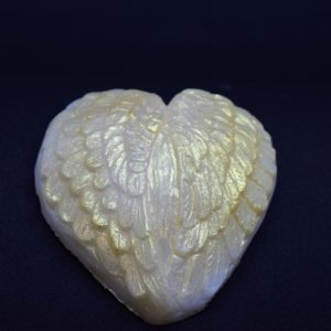 Heart shaped angel wings novelty glycerin soap.