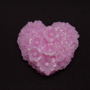 Heart shaped soap with flowers novelty glycerin soap.